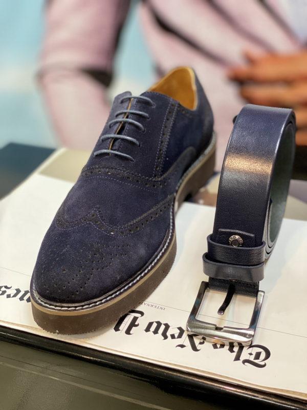 Синий кожаный ремень. Арт:17-006