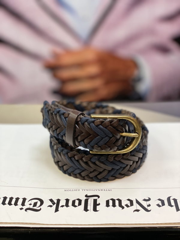 Плетеный ремень коричневого цвета. Арт:17-008