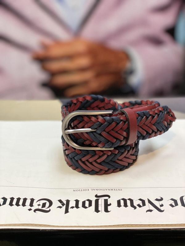 Плетеный ремень бордового цвета. Арт:17-009