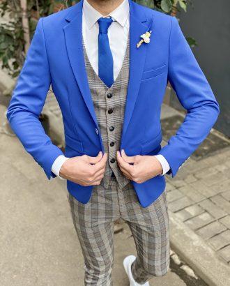 Синий приталенный пиджак. Арт.:2-1520-2