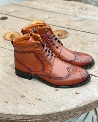 Демисезонные мужские ботинки с брогированием. Арт.:14-1605