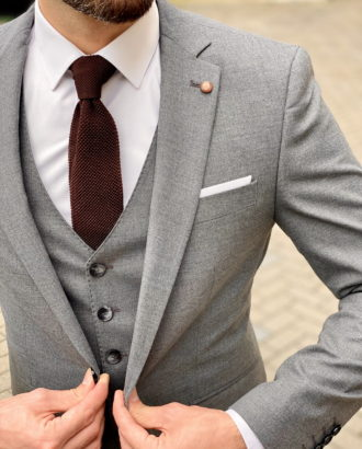 Серый костюм-тройка приталенного покроя. Арт.:4-1601-3