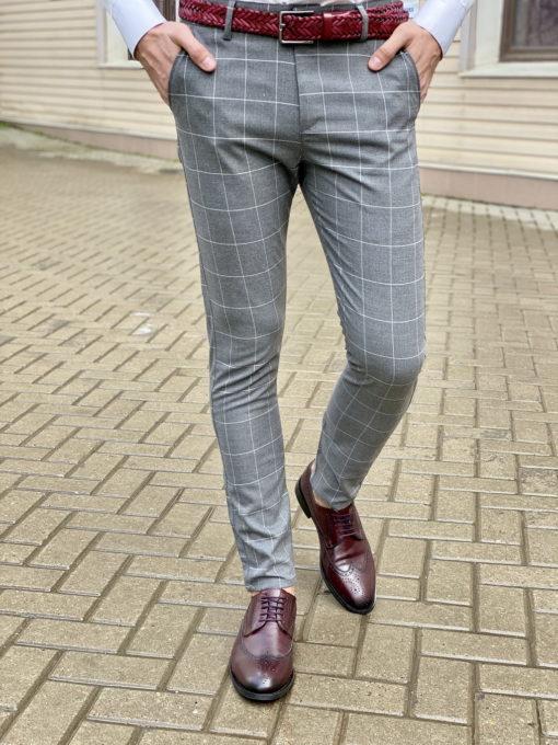 Мужские летние брюки в клетку. Арт.:6-1612-30