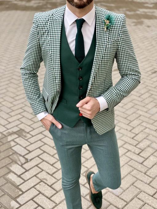 Зеленый мужской пиджак в клетку. Арт.:2-1614-6