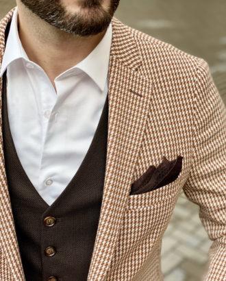 Облегченный мужской пиджак в ломаную клетку. Арт.:2-1619-3