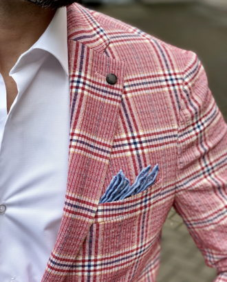 Стильный розовый пиджак в клетку. Арт.:2-1608-3