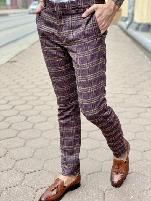 Мужские брюки бордового цвета в клетку. Арт.:6-1628-2