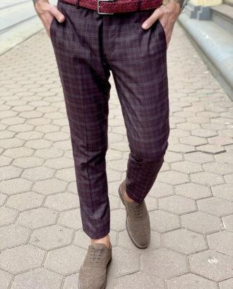 Мужские клетчатые зауженные брюки. Арт.:2-1629-2