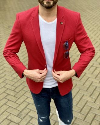 Приталенный пиджак красного цвета. Арт.:2-1631-2