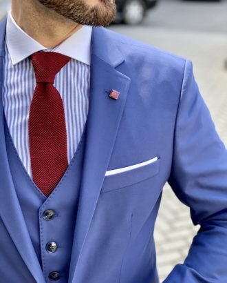 Мужской костюм-тройка синего цвета. Арт.:4-1638-3