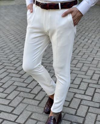 Зауженные брюки белого цвета. Арт.:6-1642-3
