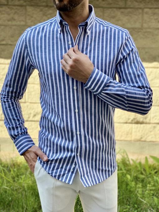 Мужская синяя рубашка в полоску. Арт.:5-1643-3