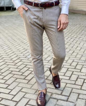 Зауженные брюки бежевого цвета. Арт.:6-1650-3