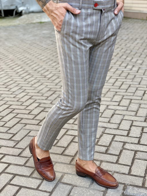 Серые брюки в контрастную клетку. Арт.:6-1651-3