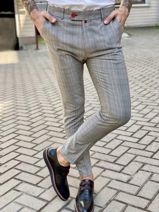 Серые брюки в клетку. Арт.:6-1652-3