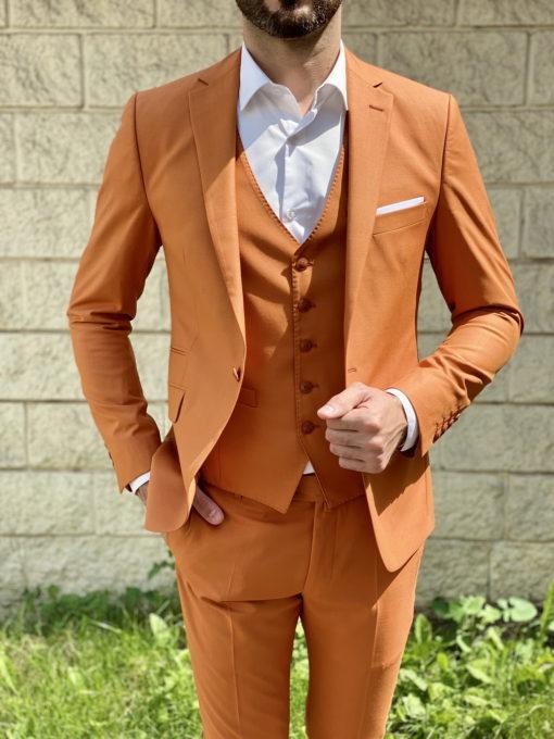 Мужской костюм-тройка горчичного цвета. Арт.:4-1637-3