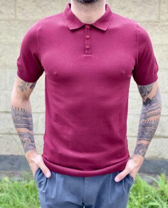 Мужское поло бордового цвета. Арт.:19-1666