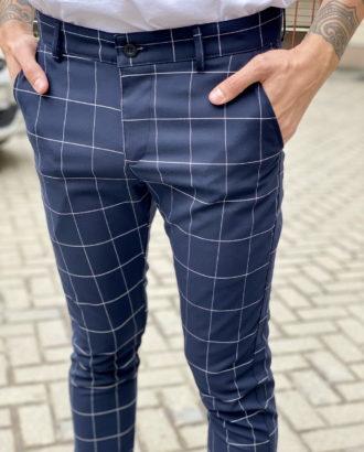 Синие мужские брюки в клетку. Арт.:6-1667-30