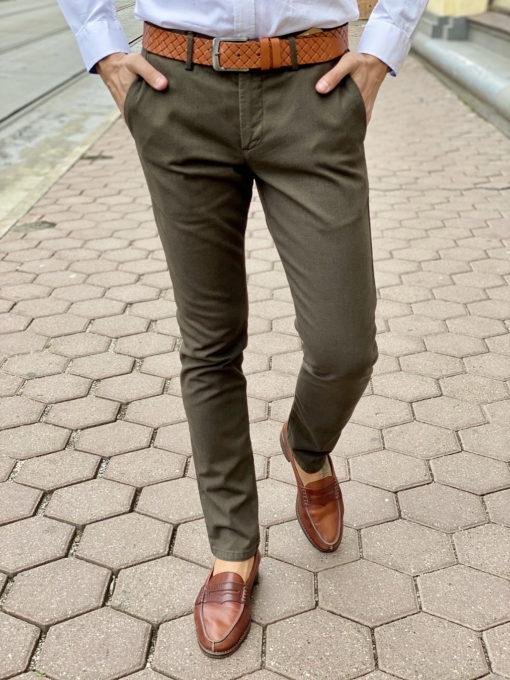 Зеленые мужские брюки чинос. Арт.:6-1669-2