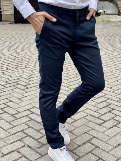 Мужские брюки чинос синего цвета. Арт.:6-1670-2