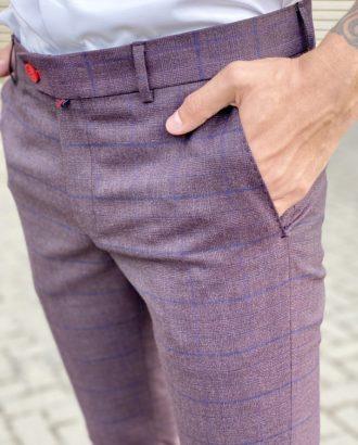 Фиолетовые брюки в клетку. Арт.:6-1713-3