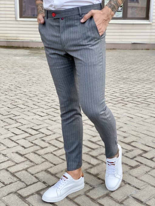 Зауженные брюки серого цвета в полоску. Арт.:6-1716-3