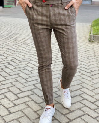 Бежевые брюки в клетку. Арт.:6-1702-3