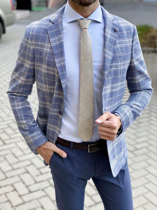 Клетчатый пиджак синего цвета. Арт.:2-1705-3