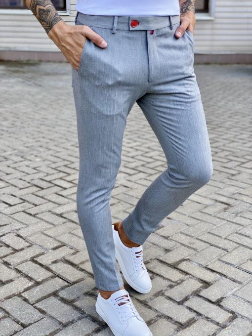 Серые брюки зауженного покроя. Арт.:6-1707-3