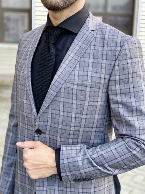 Стильный пиджак серого цвета в клетку. Арт.:2-1710-3