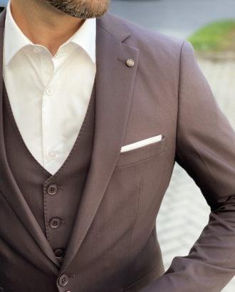 Коричневый костюм-тройка приталенного покроя. Арт.:4-1723-3