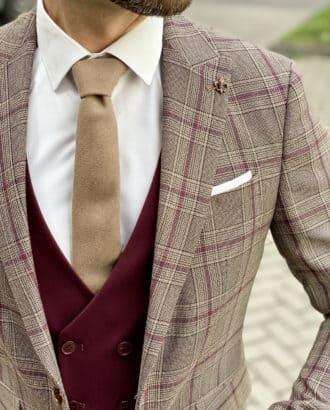 Стильный костюм-тройка с контрастным пиджаком. Арт.:4-1727-3
