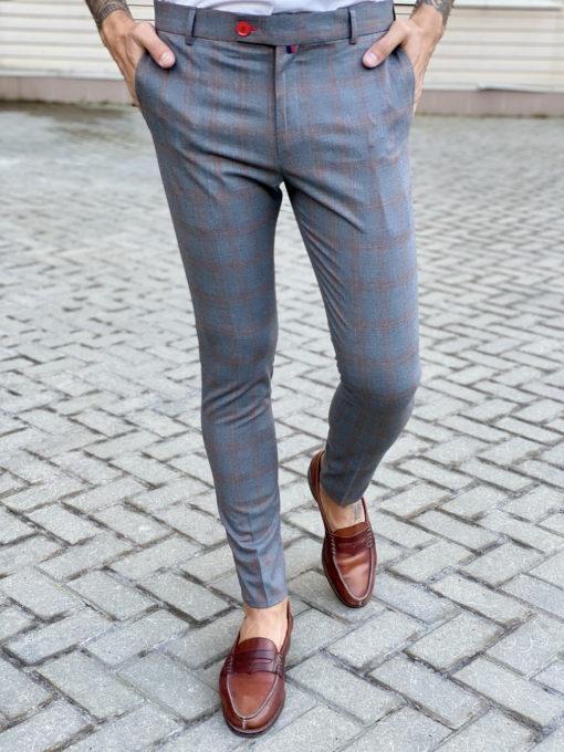 Серые брюки в контрастную клетку. Арт.:6-1738-3