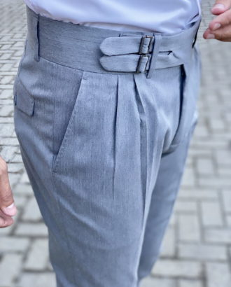 Серые стильные брюки с защипами. Арт.:6-1739-3