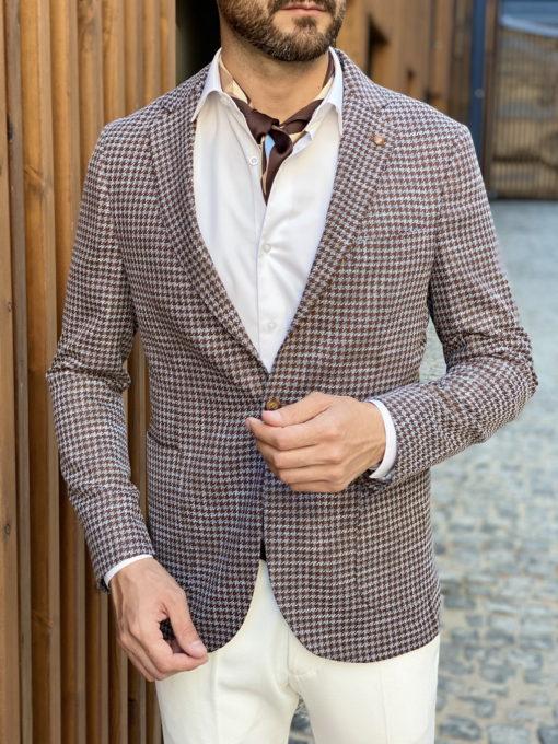 Коричневый пиджак без подкладки. Арт.:2-1733-3