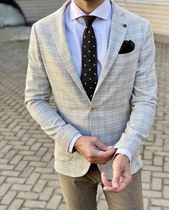 Мужской пиджак бежевого цвета. Арт.:2-1734-3