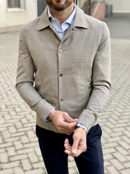 Мужская куртка с отложным воротником в клетку. Арт.:15-1748