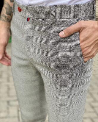 Серые мужские брюки в клетку. Арт.:6-1818