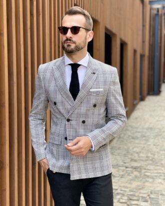 Двубортный серый пиджак. Арт.:2-1810-5