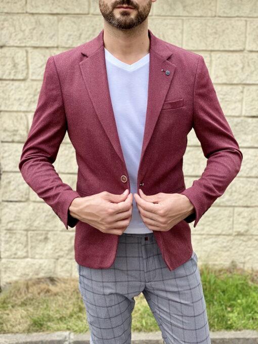 Мужской пиджак бордового цвета. Арт.:2-1812-5