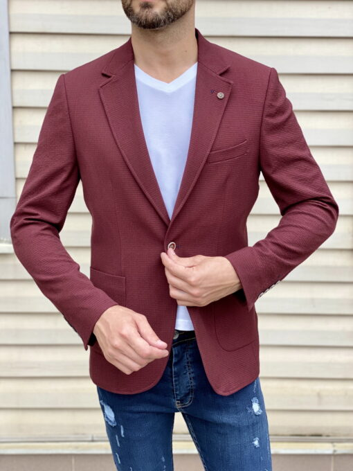 Бордовый пиджак в кэжуал стиле. Арт.:2-1816-5