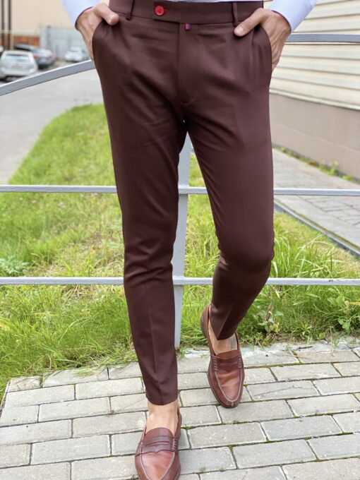 Коричневые мужские брюки. Арт.:6-1819-3