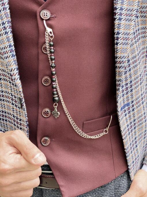 Серый мужской пиджак в клетку. Арт.:2-1802-5
