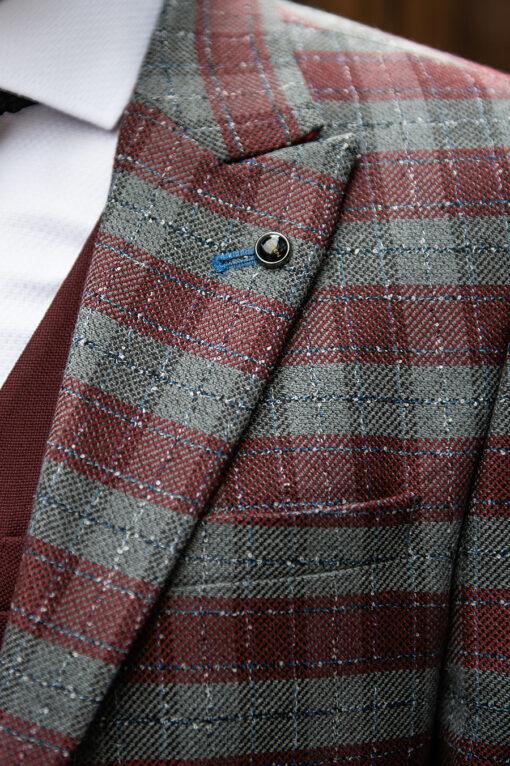 Мужской серый пиджак в клетку. Арт.:2-1750-5