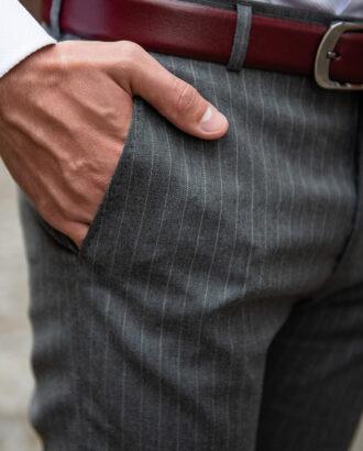 Серые мужские брюки в полоску. Арт.:6-1751-3