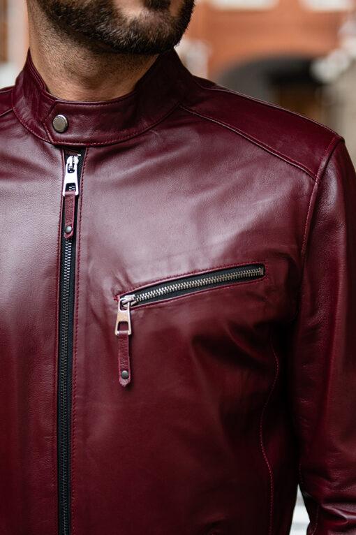 Мужская бордовая кожаная куртка. Арт.:15-1758