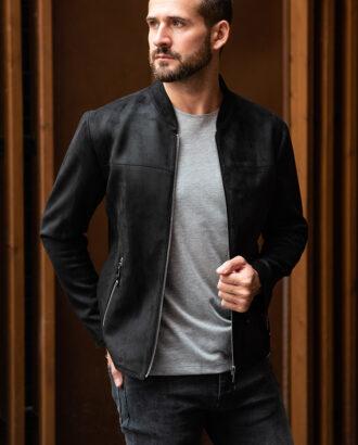Мужская черная куртка из нубука. Арт.:15-1759