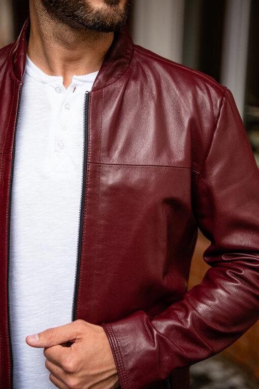 Бордовая кожаная куртка. Арт.:15-1760