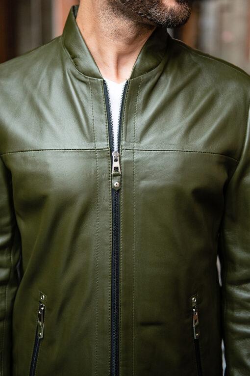 Мужская кожаная куртка зеленого цвета. Арт.:15-1761