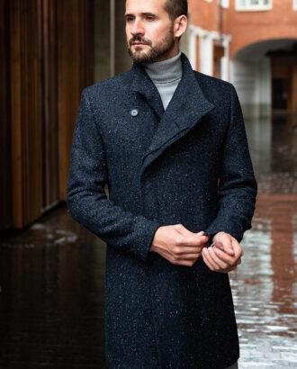 Пальто синего цвета с ассиметричным бортом. Арт.:1-1762-2